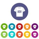 Camiseta con los iconos determinados de los ADV de la impresión stock de ilustración