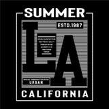 Camiseta del diseño de la tipografía de Los Angeles para el shir de t stock de ilustración