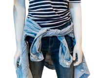 Camiseta del modelo rayado con mezclilla y la chaqueta azules apretadas en manne Foto de archivo libre de regalías