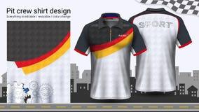 Camiseta del polo con la cremallera, compitiendo con la plantilla de la maqueta de los uniformes para el desgaste activo y la rop ilustración del vector