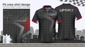 Camiseta del polo con la cremallera, compitiendo con la plantilla de la maqueta de los uniformes para el desgaste activo y la rop stock de ilustración