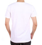 Camiseta en blanco en el hombre (lado trasero) Foto de archivo libre de regalías