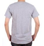 Camiseta en blanco en el hombre (lado trasero) Imagen de archivo