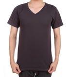 Camiseta en blanco en hombre Fotos de archivo