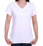 Camiseta en blanco en mujer Imágenes de archivo libres de regalías