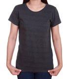 Camiseta en blanco en mujer Fotos de archivo