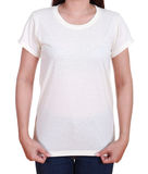 Camiseta en blanco en mujer Imagen de archivo