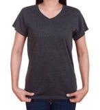 Camiseta en blanco en mujer Foto de archivo