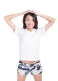 Camiseta feliz del blanco de la demostración de la sonrisa de la muchacha Imagenes de archivo