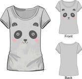 Camiseta gris con la impresión de la moda con el ejemplo del vector del bordado lindo de la panda blanca y rosada del juguete Imágenes de archivo libres de regalías