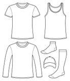 A camiseta interioa, t-shirt, Longo-sleeved o t-shirt, tampão e golpeia o molde ilustração do vetor