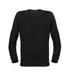 Camiseta negra con las mangas largas aisladas en el fondo blanco Fotografía de archivo