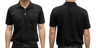 Camiseta negra del polo en el cuerpo humano para la mofa u del diseño gráfico fotos de archivo libres de regalías