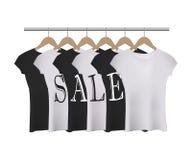 Camisetas blancos y negros realistas del vector con palabra de la VENTA libre illustration