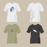Camisetas con diseños de la fauna stock de ilustración