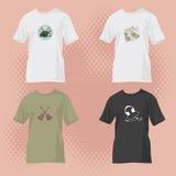 Camisetas con diseños de la música stock de ilustración