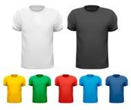 Camisetas de los hombres blancos y negros y de color. Tem del diseño libre illustration