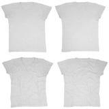Camisetas grises en blanco frente y parte posterior Fotos de archivo