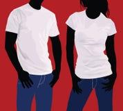 Camisetas Hombres y mujeres de la silueta del cuerpo modelo Foto de archivo
