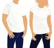 Camisetas Hombres y mujeres de la silueta del cuerpo modelo Imagenes de archivo