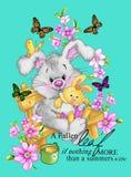 Camisetas lindas del estilo de la moda del jardín del conejo que imprimen fantástico moderno Fotos de archivo libres de regalías