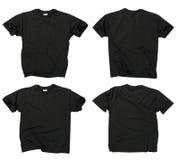 Camisetas negras en blanco frente y parte posterior imagenes de archivo