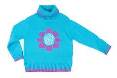 Camisola feita malha das crianças azuis imagens de stock