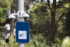 Camma di sicurezza in un parco pubblico Fotografia Stock