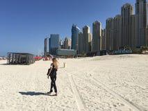 Cammelli su una spiaggia della Doubai fotografie stock