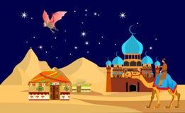 Cammello che cammina in sabbie nella notte, pipistrello del deserto Immagine Stock