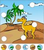 Cammello del fumetto nel deserto completi il puzzle e trovi il MI Fotografia Stock Libera da Diritti