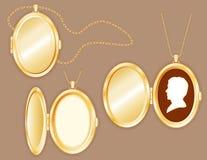 cammeo dell'uomo di +EPS in Locket ovale, catena dell'oro Fotografia Stock