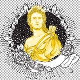Cammeo vittoriano romanzesco scuro Bello uomo greco sulla struttura nera d'annata decorata con le foglie e le rose Eleganza di Bo illustrazione di stock