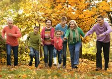 Cammina una famiglia numerosa Fotografia Stock Libera da Diritti