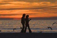 Camminando al tramonto Fotografia Stock Libera da Diritti