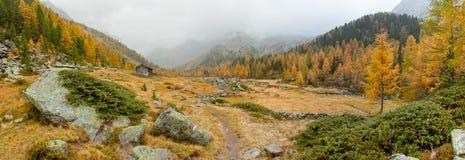 Camminando all'autunno in un giorno nuvoloso in una valle della montagna Immagini Stock Libere da Diritti