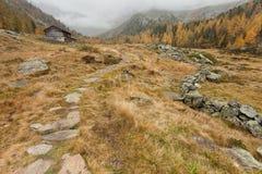 Camminando all'autunno in un giorno nuvoloso in una valle della montagna Fotografie Stock Libere da Diritti