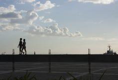 Camminando alla baia Fotografie Stock