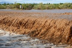 Camminando attraverso l'inondazione Immagine Stock