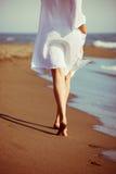 Camminando dal mare Immagini Stock