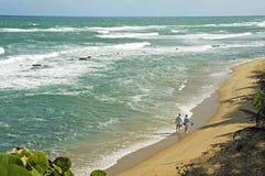 Camminando insieme sulla spiaggia Immagini Stock Libere da Diritti