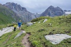 Camminando in montagne Immagini Stock