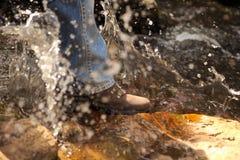 Camminando nell'acqua Fotografia Stock Libera da Diritti