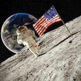 camminando sull'illustrazione della luna 3d Fotografie Stock Libere da Diritti