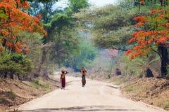Camminare africano della donna Fotografie Stock