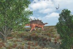 Camminare del dinosauro di Kentrosaurus Fotografia Stock
