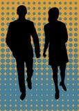 Camminare della donna e dell'uomo illustrazione di stock