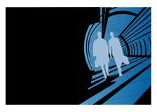 Camminare delle siluette degli uomini Fotografia Stock Libera da Diritti