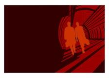 Camminare delle siluette degli uomini Fotografie Stock Libere da Diritti