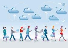 Camminare di calcolo della nube Immagini Stock